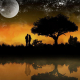 Romantic moon landscape